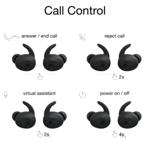 functie-uitleg-bedieningspaneel-Thone-draadloze-oordop-telefoneren-zwart